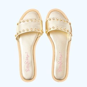 🌴 NWT Lilly Pulitzer Rachel Slide in Gold